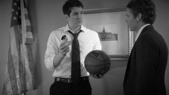 (from left) Matt Laumann as Ed and Joe Deane as The President