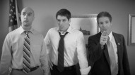(from left) Michael Peake as Dr. Chang, Matt Laumann as Ed, and Joe Deane as The President