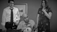 (from left) Matt Laumann as Ed, Michael Peake as Dr. Chang, and Kayla Clark as Lisa