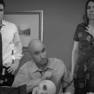 (from left) Matt Laumann as Ed, Michael Peake as Dr. Chang, and Kayla Clark as Lisa