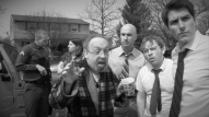 (from left) Christopher Hahn as Corporal Mulligan, Kayla Clark as Lisa, Garry R. Hohnecker as James Magrish, Michael Peake as Dr. Chang, Jack Burrows as Floyd, and Matt Laumann as Ed